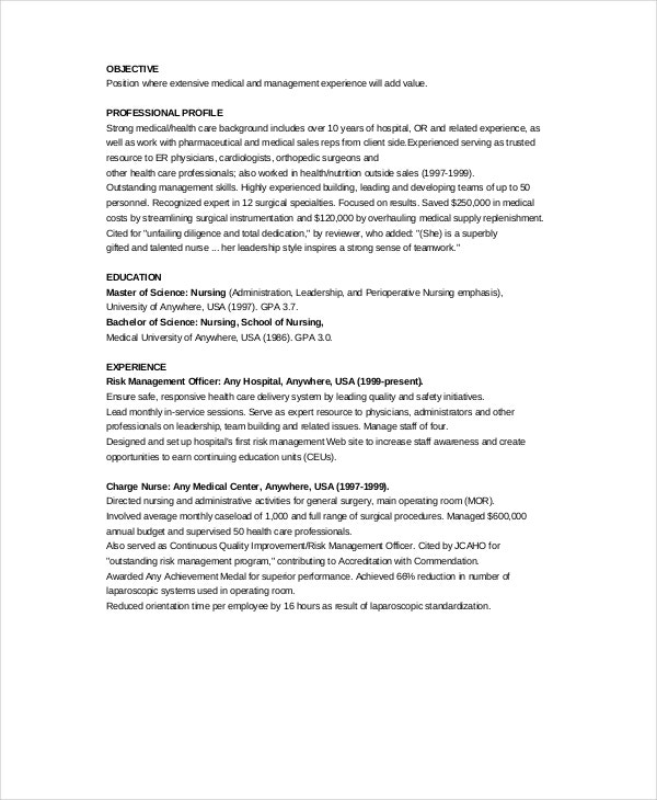 Examples Of Nurse Resume