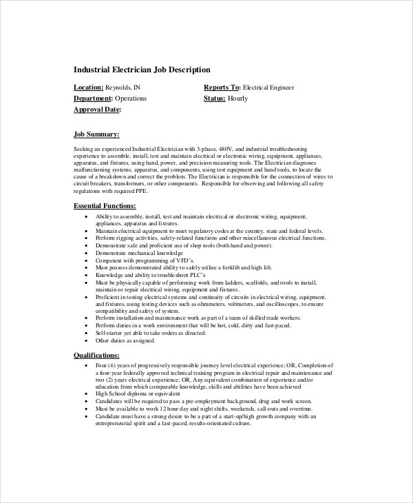 Electrician Job Description   Free Pdf Word Dowload Documents