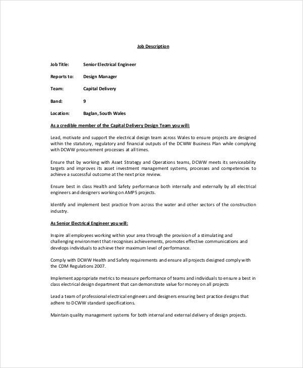 Electrician job description 9 free pdf word dowload for Template for job description in word