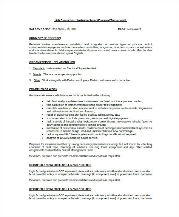electrical technician job description