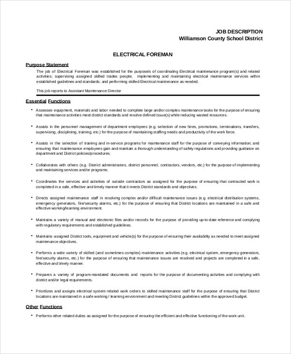 electrical foreman job description template