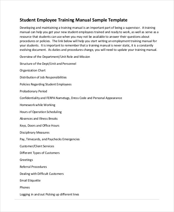 training manual template 7 free pdf word download documents