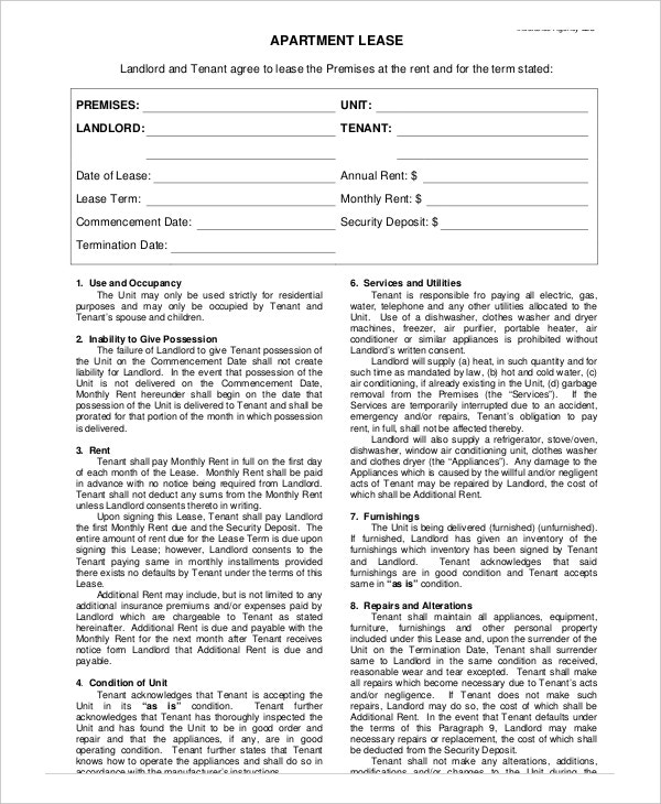 Month-To-Month Apartment Lease Template
