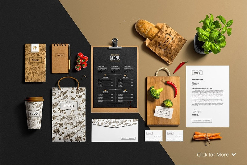 Restaurant Bar Stationery Mock-Up