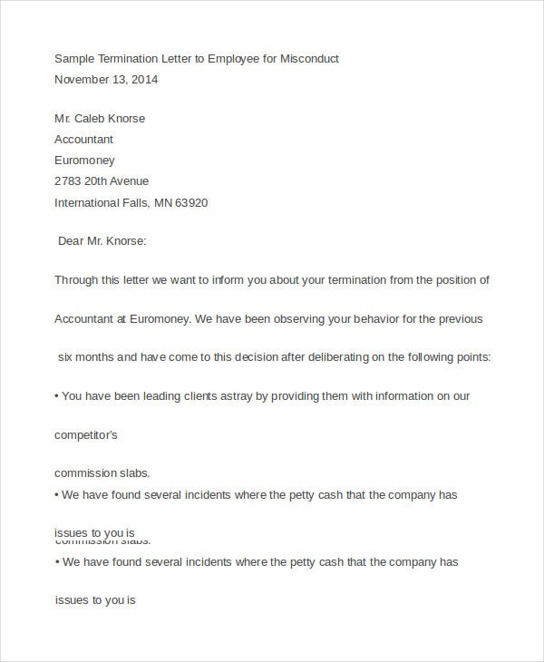 Sample Termination Letter to Employee for Misconduct