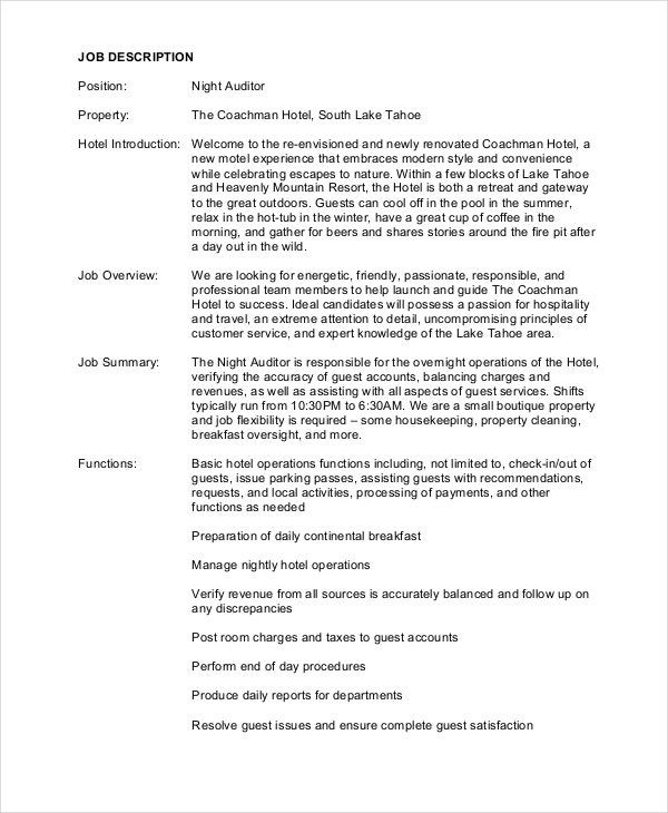 Auditor job description example 9 free pdf documents for Example of a job description template