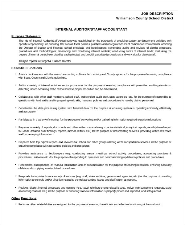 Auditor Job Description Example   Free Pdf Documents Download