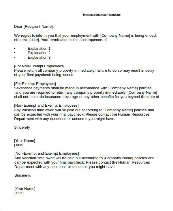 Job Termination Letter By Employee