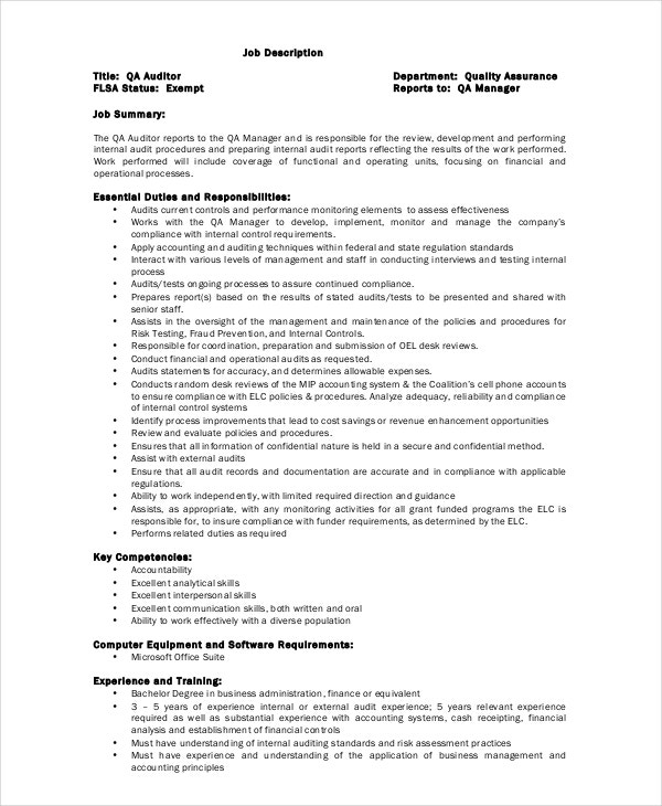 quality assurance auditor job description template - Job Description Of Business Administration