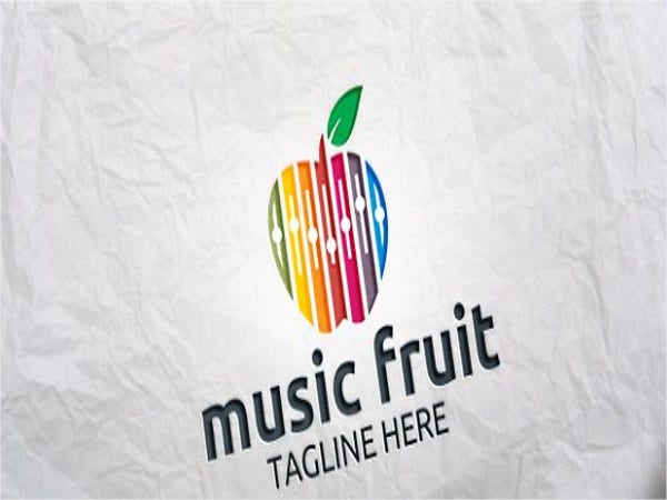 music fruit logo design