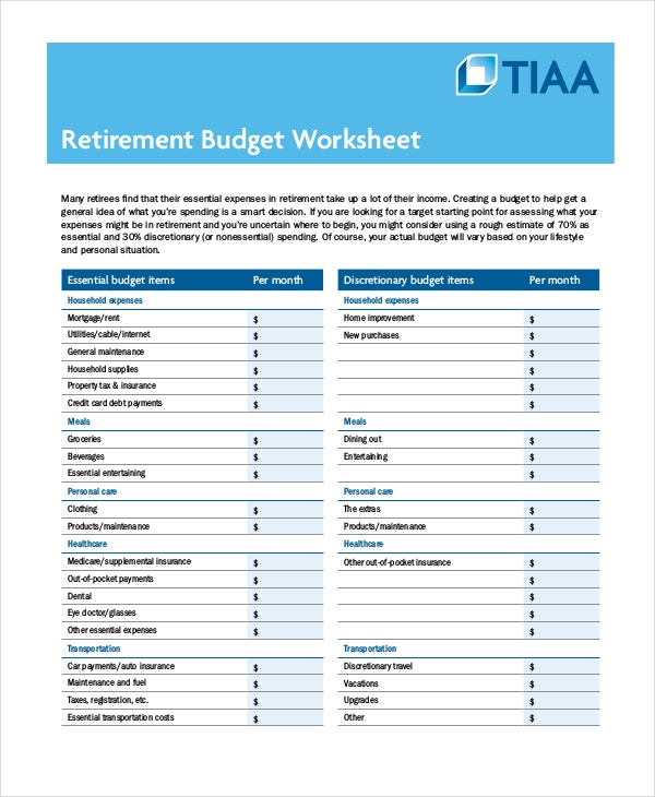 Printable Retirement Budget Worksheet Template In PDF