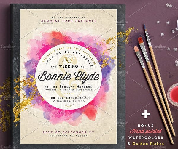 Pure Gold Watercolor Wedding Invitation