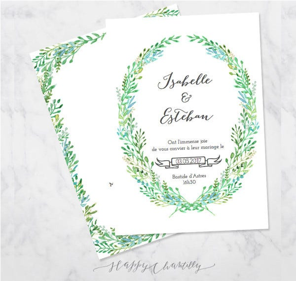 Green Foliage Watercolor Wedding Invitation