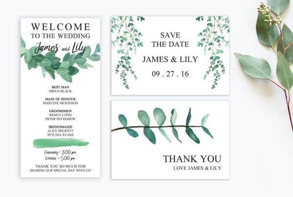 Pretty Watercolor Wedding Invitation