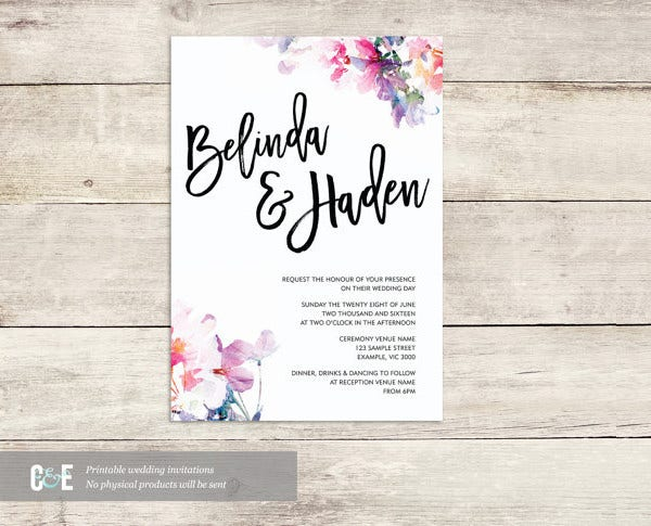 Romantic Multi Watercolour Wedding Invitation