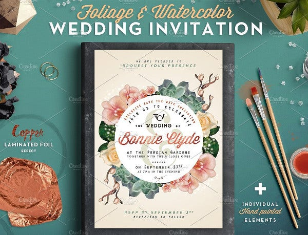 Foliage Watercolor Wedding Invitation