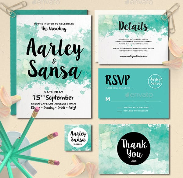 Creative Watercolor Wedding Invitation