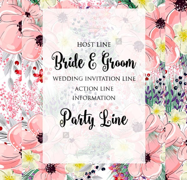 Vintage Watercolor Style Wedding Invitation