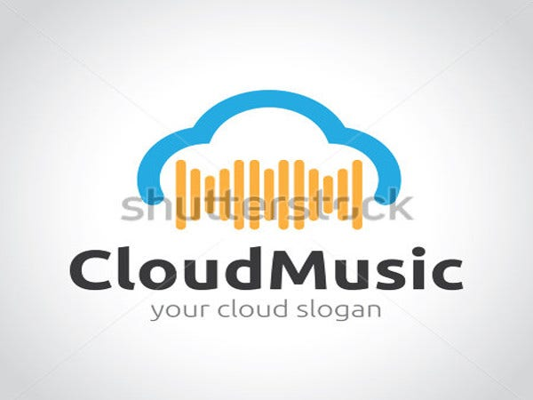 cloud-music-vector-logo-template