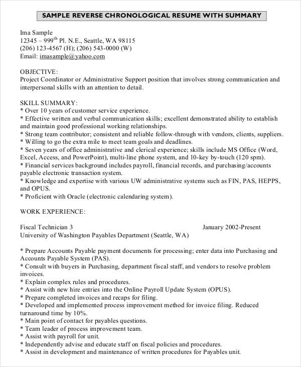 Reverse Chronological Resume With Summary Template