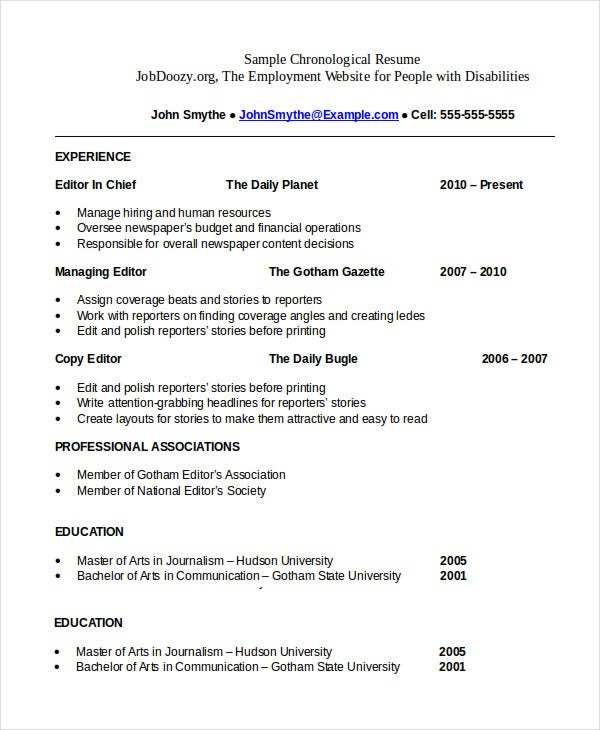 Chronological Resume Template   Free Word Pdf Documents