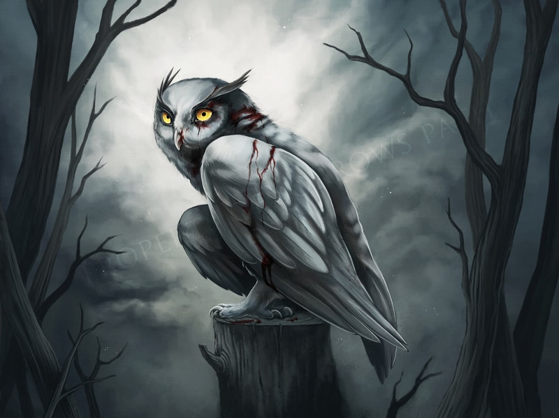 Scary Owl Digital Art