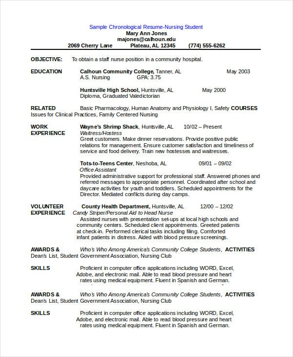 chronological resume template for nursing students