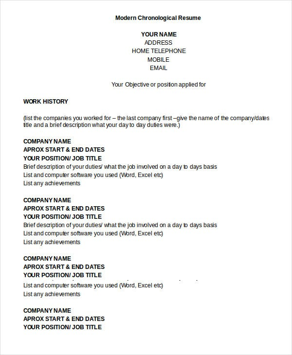 resume templates chronological