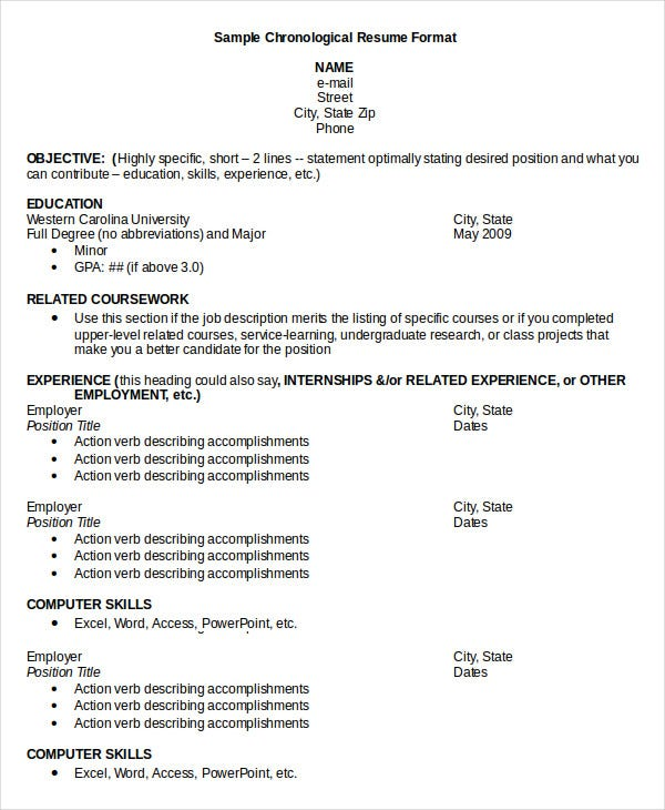 28+ Chronological Resumes  How To Write A Chronological Resume