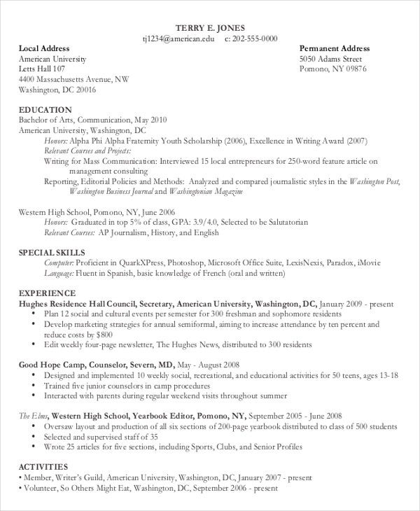 sample chronological resume template - Chronological Resume Templates Free