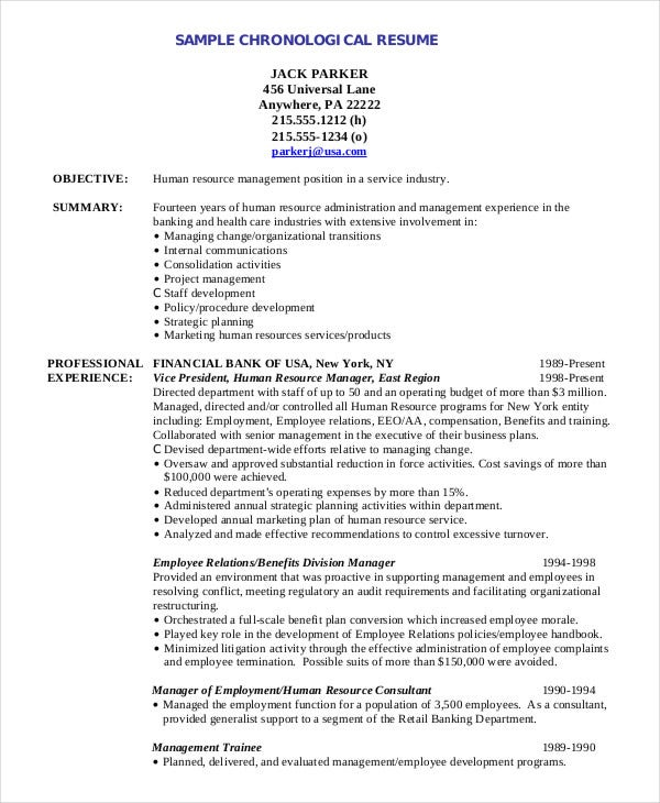 chronological resume template for human resource - Sample Chronological Resume Template