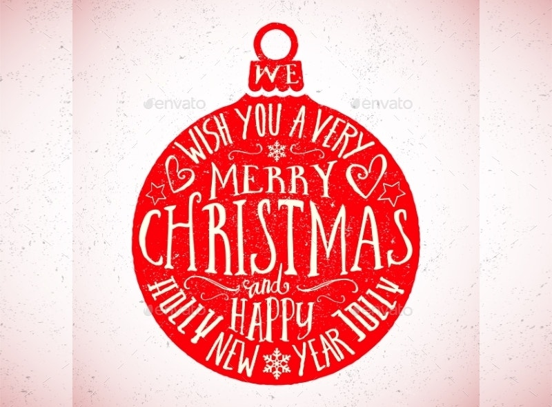 vector typography christmas card