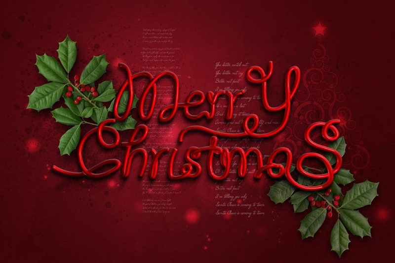 merry christmas with red background