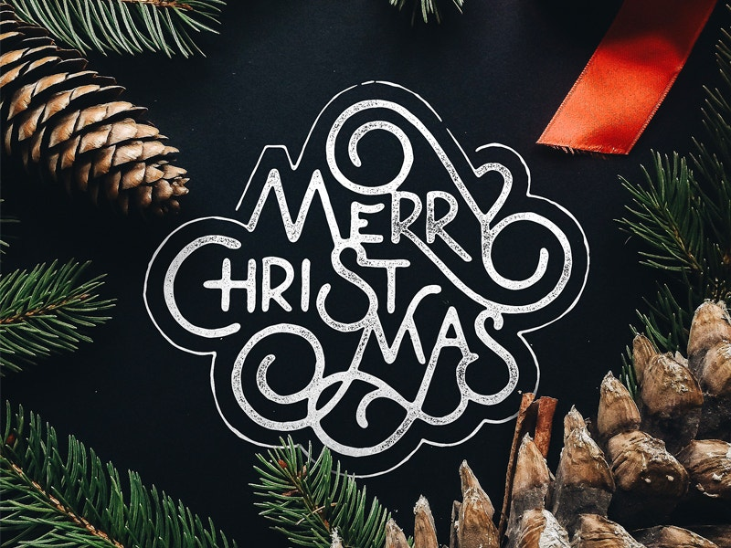 free merry christmas typography design