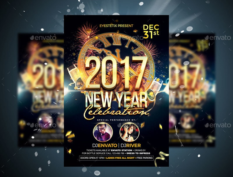New Year 2017 Bar Flyer