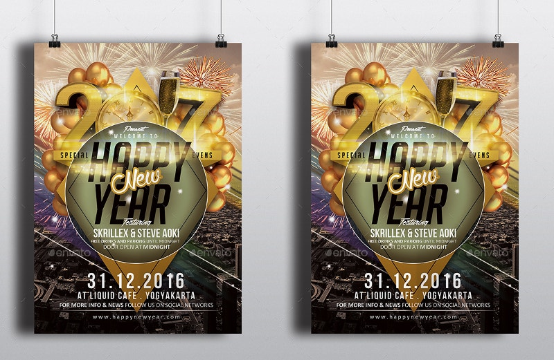Happy New Year 2017 Flyer Template