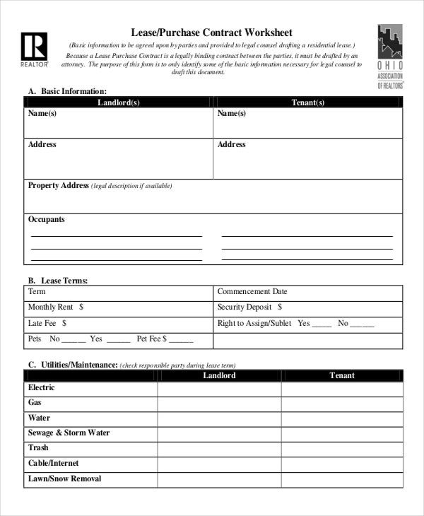 rent to buy contract template - lease contract form 8 free word pdf documents download