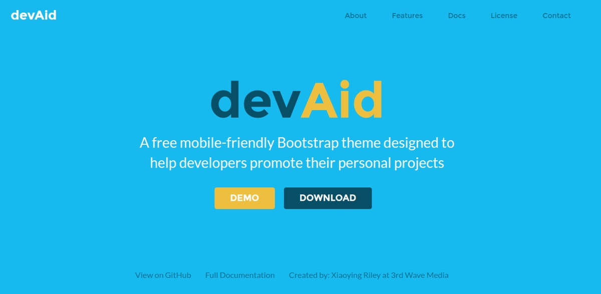 free bootstrap theme for developers
