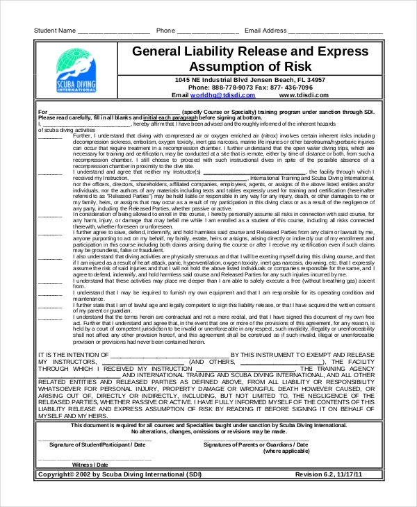 General Liability Waiver Form Sample  Free Printable Liability Release Form