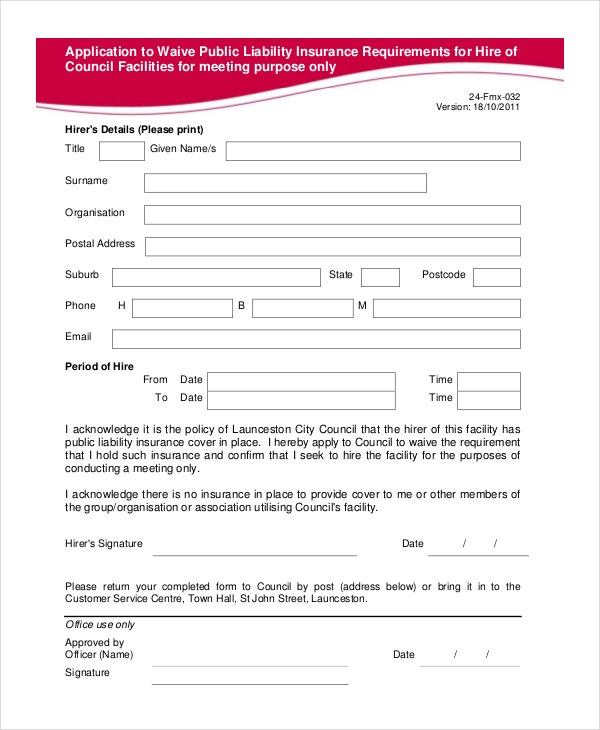 Liability Insurance Waiver Form In PDF  General Waiver Liability Form