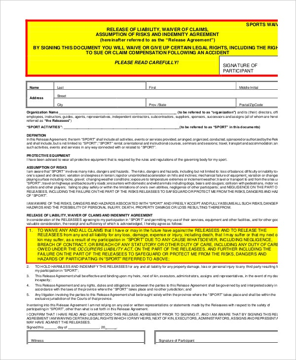 Sports Liability Waiver Form Template  Basic Liability Waiver Form