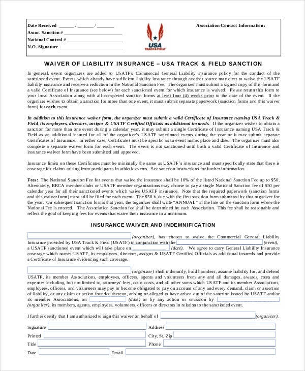 Liability Waiver Form Printable Sample Release And Waiver Of