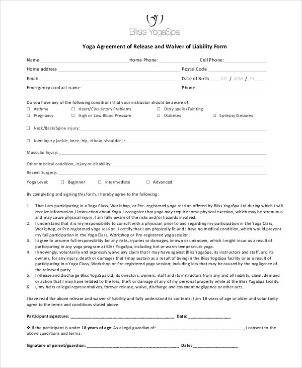 Yoga Liability Waiver Form Example  Generic Release Of Liability Form