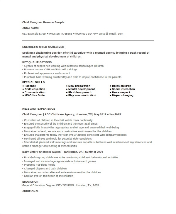 child-caregiver-resume-example