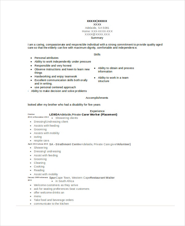 Private Caregiver Resume In Word