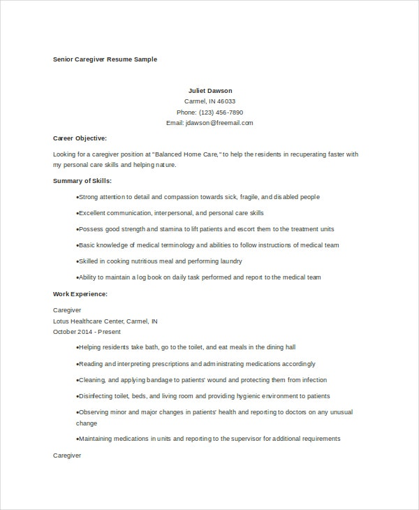 sample resume for caregiver for an elderly - caregiver resume example 7 free word pdf documents