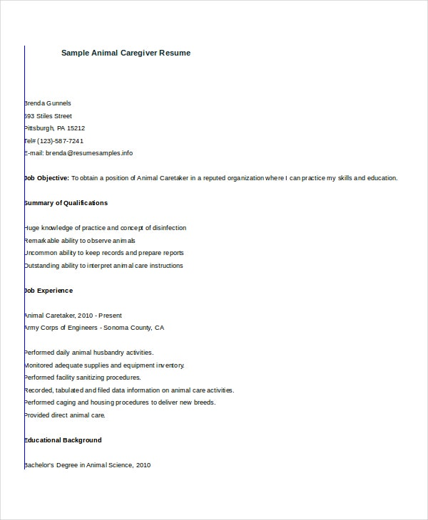 animal caregiver resume free download resumesamplescom