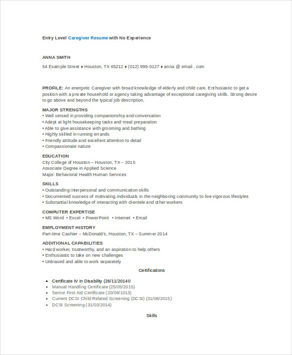 No Experience Caregiver Resume Template