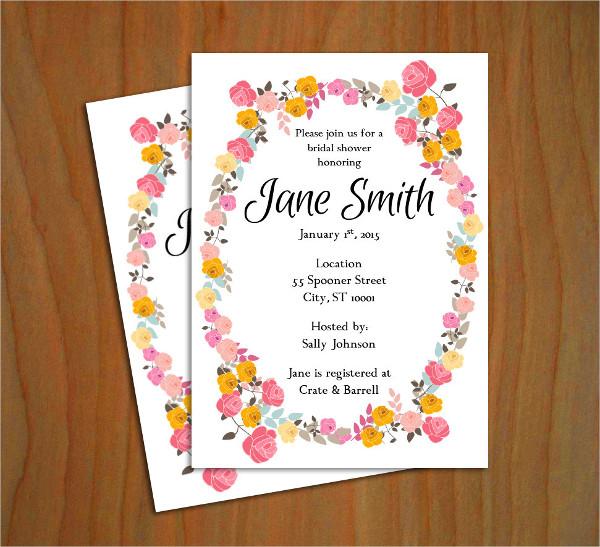 floral bridal shower invitation template