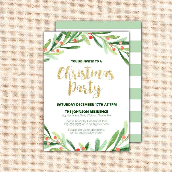 printable christmas party invitation template